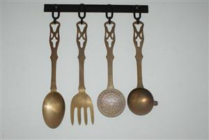 Vintage Set of Brass Wall Decor Hanging Cooking Utensils