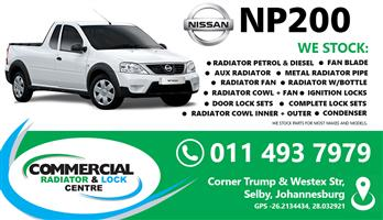 NISSAN NP200 COOLING SYSTEMS , LOCKS FOR SALE