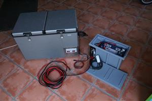 National Luna 74L Double Door Fridge Freezer, Dual battery System & Controller combo camping fridge