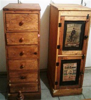 chest of drawers and 2 shelve cabinet