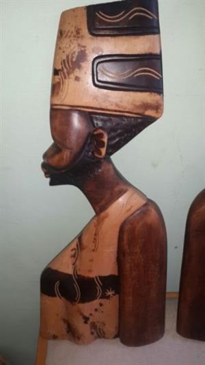African hardwood decorative man and woman