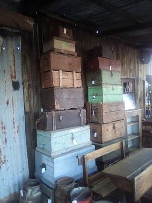 Antique toolboxes and suitcases