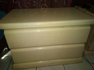 Queen size Solid Marble Type Wood Headboard and Pedestals