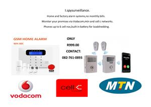 Alarm system that works of vodacom,cell c,mtn