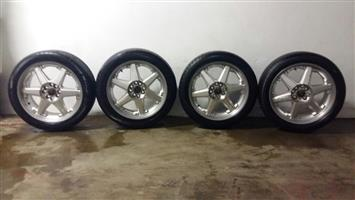 5/100/114 17inch Lenso Rap and tyres R3800