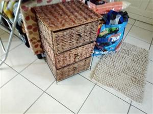 Cane Basket with 3 drawer for sale