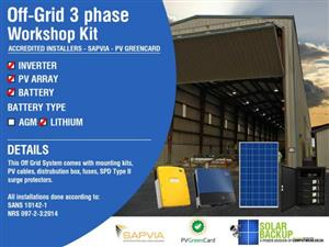 Off-Grid [75kwh Per Day] [3 phase – 36kw] Workshop Kit