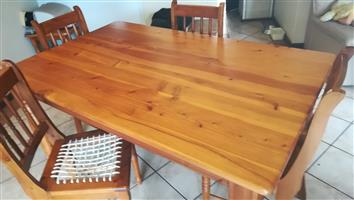 Oregon Pine and Yellow-wood dining table with riempie chairs