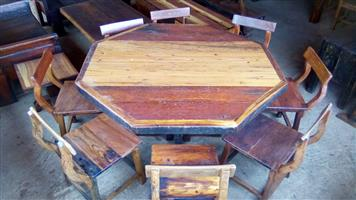 8 Seater Railway sleeper Moekwa and Massasa Round table