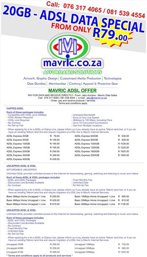 ADSL 20GB DATA - ONLY: R 79.00
