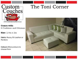 THE TONI CORNER COUCH 2.4m X 2m,CHOOSE YOUR FABRIC AND COLOUR