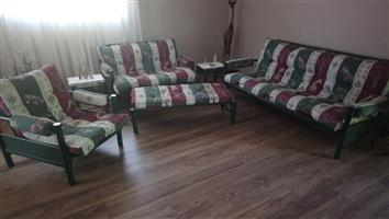 6 Seater steel frame sleeper couch with 2x glass side tables