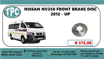 Nisssan NV350 Front Bake Disc 2012 - UP - For Sale at TPC