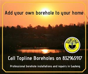 Private boreholes supplied by Topline Boreholes in Gauteng.