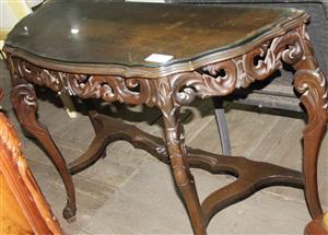 S035624D Brown halfmoon table #Rosettenvillepawnshop