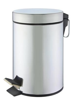 STAINLESS STEEL SHINY FINISH 'ROUND' PEDAL BIN (5L)!! GREAT DEALS AMAZING VALUE!!!