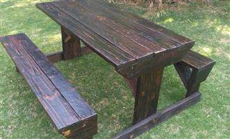 Bench and table set