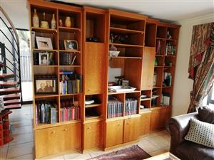 Cherry Veneer Wood TV Cabinet and Library