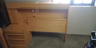 Single bed oak headboard with dresser