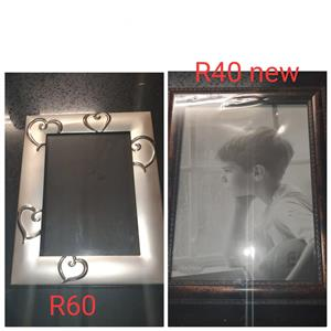 Silver and black photo frames