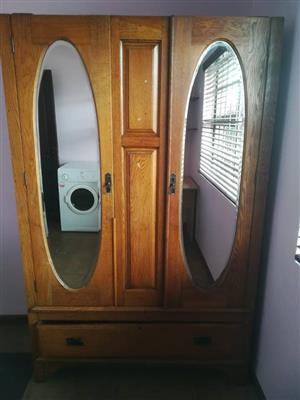 2 Door mirror wooden closet