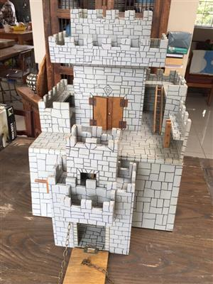 Toy Castle with muliple levels and working drawbridge -great Xmas gift idea!