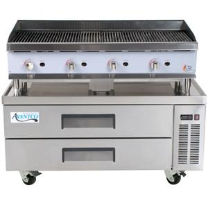"Cooking Performance Group 48CLRBNL 48"" lava rock charbroiler with 2 drawer refrigerated chef base."