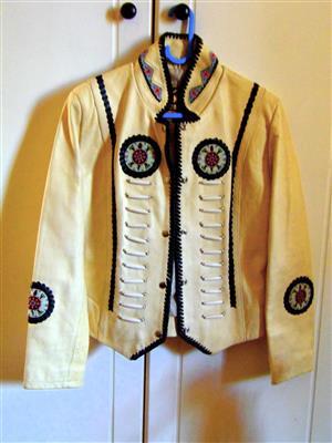 100% leather/hand beaded cowgirls cream ladies jacket