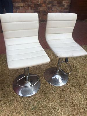 2 Beige leather bar chair for sale