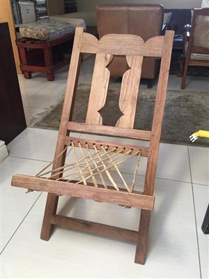 Unique Handmade Folding Riempie recliner chair