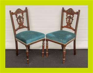 Pair of Edwardian Mahogany Dining Chairs - SKU 690