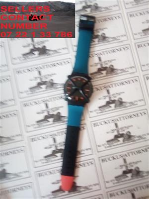 mens black and blue swatch watch