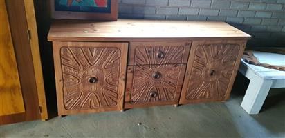 Light wooden 3 door cabinet for sale