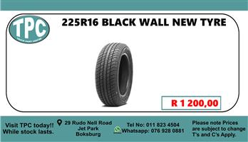 225R16 Black Wall New Tyre - For Sale at TPC.