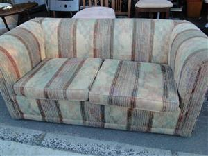 Lovely Quality Brown Floral 2 Division Couches - R 1800 each