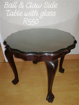 Ball & Claw Table With Glass