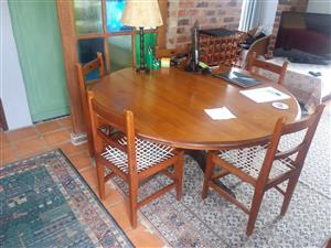 Yellowwood and Imbuia dining room table and chairs