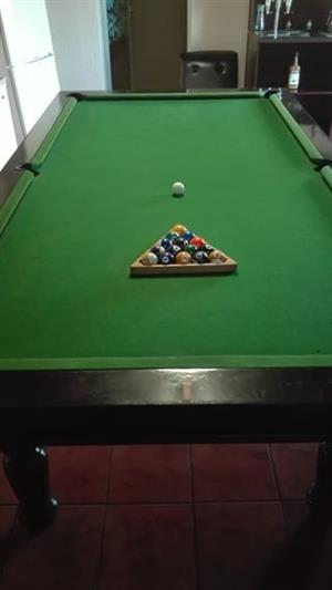 Solid wood pool table 3x4 with pool sticks and balls
