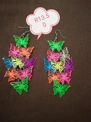 Multi colored butterfly earrings