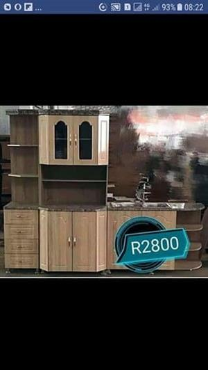 Light wooden kitchen cupboard
