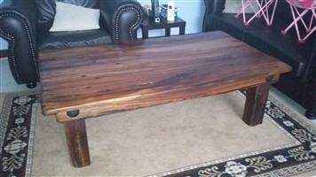 Coffee table made from sleeper wood