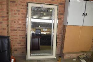 Large white framed mirror for sale
