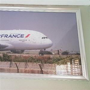 Framed puzzle of custom Air France photo taken at OR Tambo.