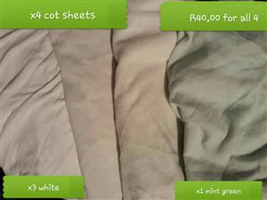 4 Cot sheets for sale