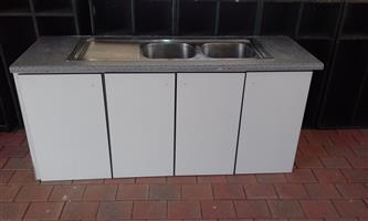 Double Kitchen Sink Basin plus 4 Door Cupboard