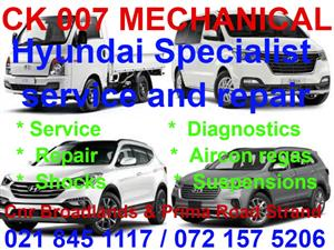 Hyundai service and repair Specialist available.