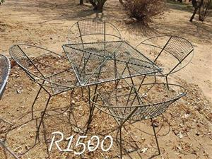 Old steel and wire garden set for sale