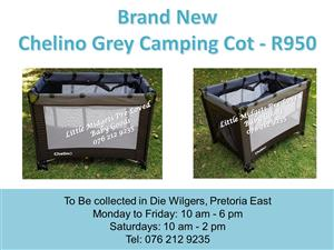 Brand New Chelino Black and Grey Camping Cot (Mattress available at R350 extra)