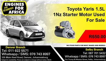 Toyota Yaris 1.5L 1Nz Starter Motor Used For Sale