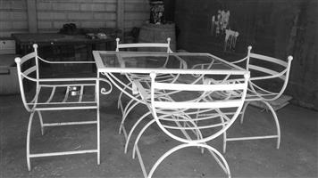 5 Piece solid wraught iron table set